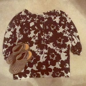 Plus Size Black and White Floral Dress Top